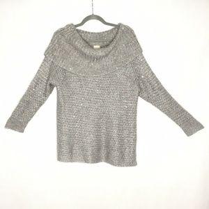 Chico's Dorothy Sequin Shine Sweater Gray